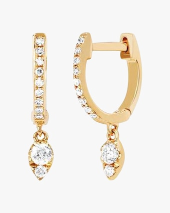 EF Collection Diamond Teardrop Huggie Earrings 1