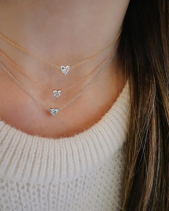 EF Collection Full-Cut Diamond Heart Choker 2