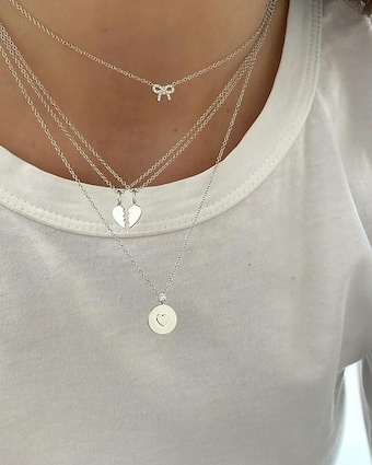 EF Collection Heart Friendship Necklace Set 2