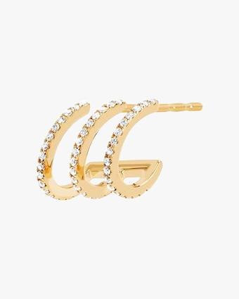 EF Collection Single Diamond Triple Huggie Earring - Left 1