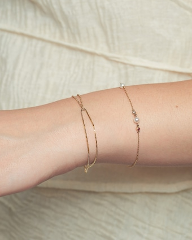 Poppy Finch Double Box Chain Shimmer Bracelet 2