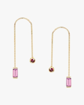 Poppy Finch Ruby & Sapphire Box Chain Earrings 1