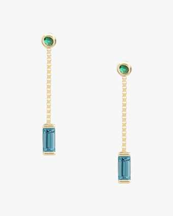 Poppy Finch Emerald & Aquamarine Box Chain Earrings 1