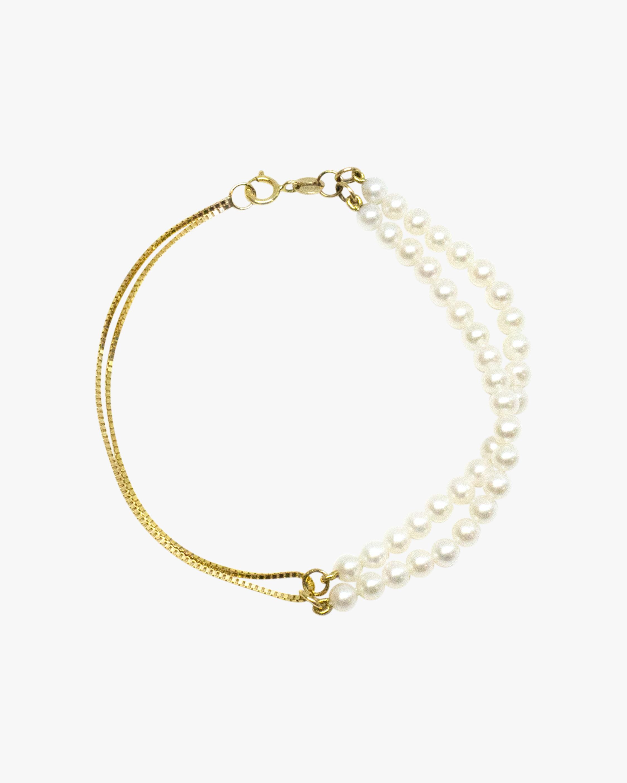 Double Box Chain Pearl Bracelet