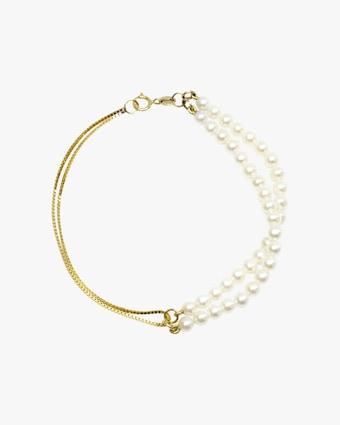 Poppy Finch Double Box Chain Pearl Bracelet 1