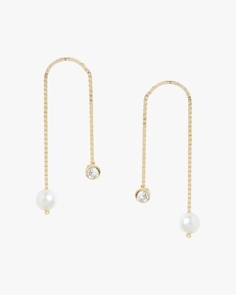 Poppy Finch Diamond & Pearl Box Chain Earrings 1