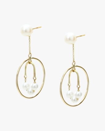 Poppy Finch Pearl Arch Drop Earrings 1