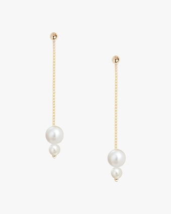 Poppy Finch Double-Pearl Chain Drop Earrings 1