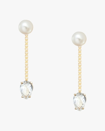 Poppy Finch Pearl & White Topaz Box Chain Earrings 1