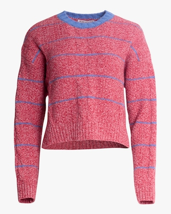 ALEXACHUNG Cropped Cable-Knit Crewneck Sweater 1