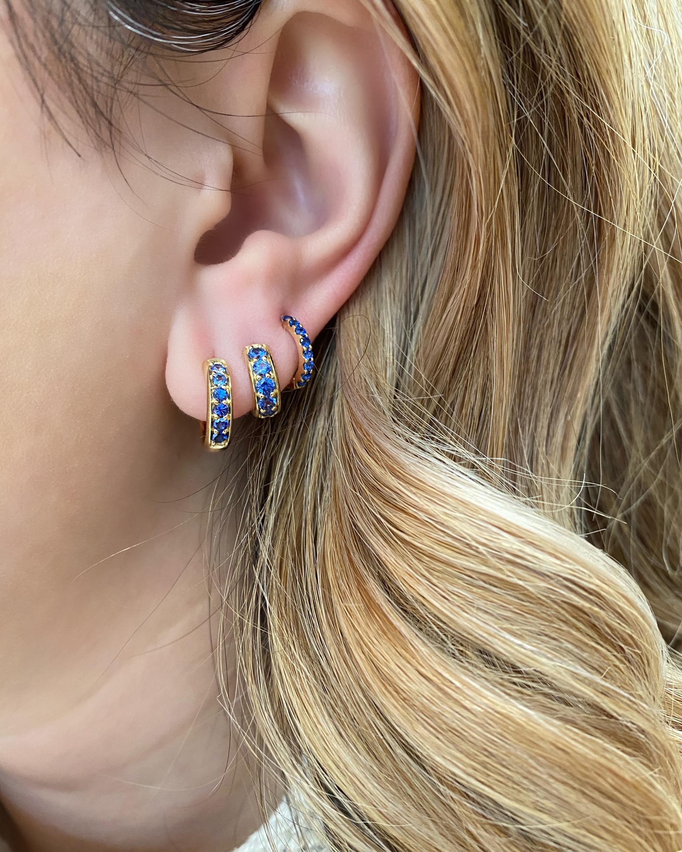 Jane Taylor Classic Blue Sapphire Hoop Earrings 2