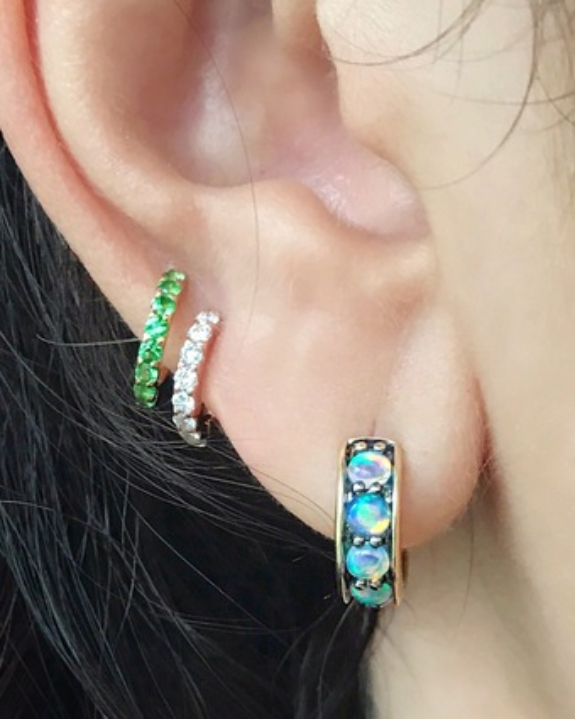 Jane Taylor Chubby Opal Hoop Earrings 2