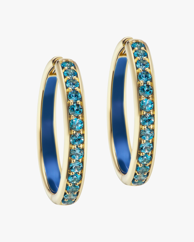 Jane Taylor Blue Topaz Hoop Earrings 1