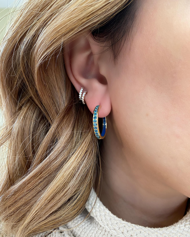 Jane Taylor Blue Topaz Hoop Earrings 2