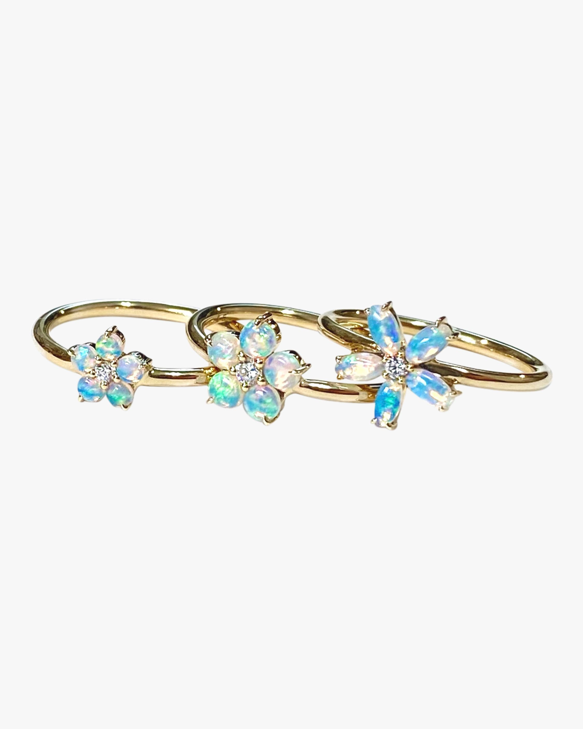 Jane Taylor Rings SMALL OPAL & DIAMOND FLOWER RING