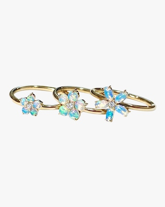 Jane Taylor Small Opal & Diamond Flower Ring 1