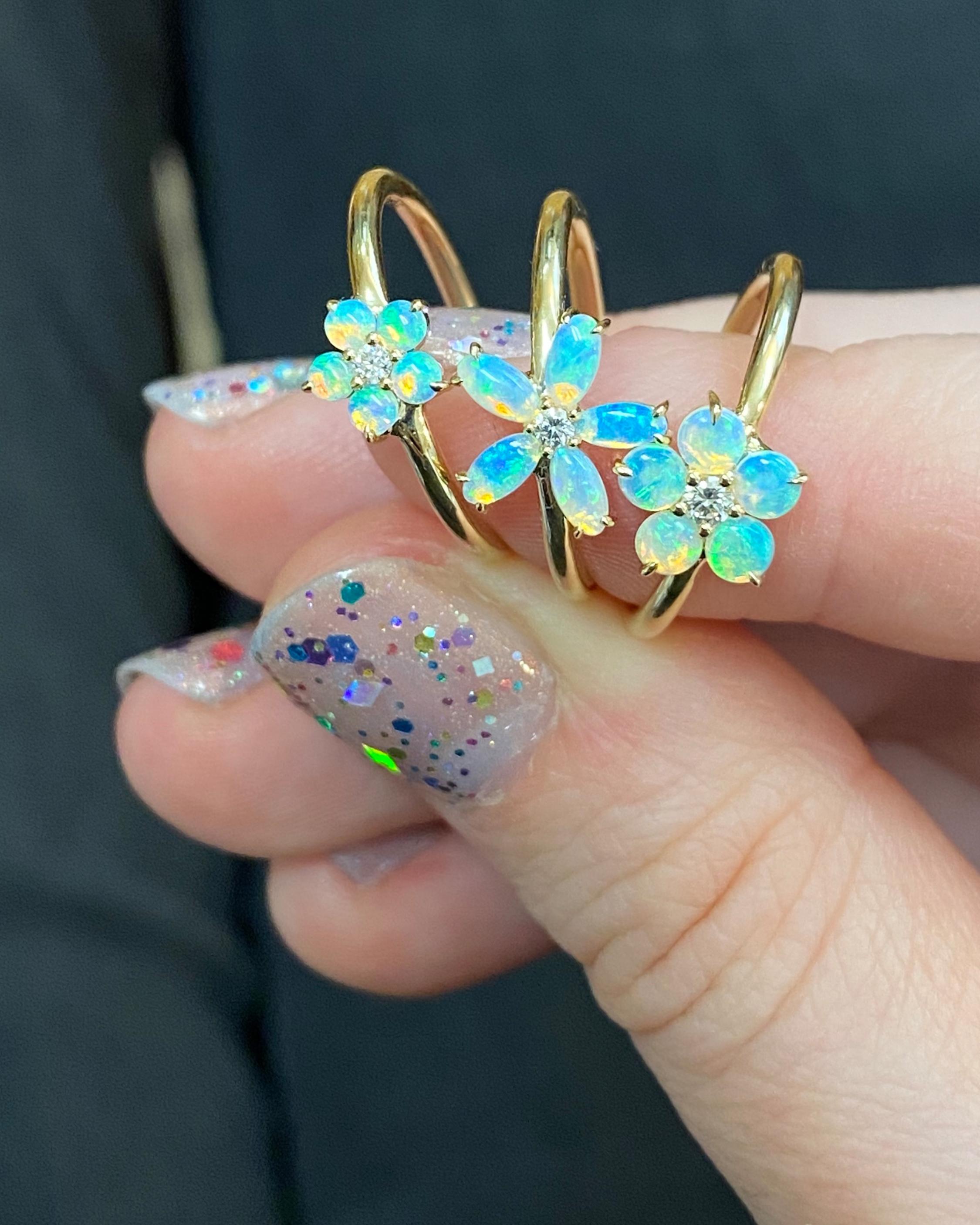 Jane Taylor Medium Opal & Diamond Flower Ring 2