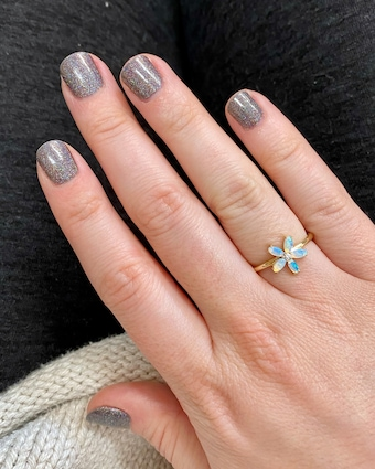 Jane Taylor Limited Edition Opal & Diamond Flower Ring 2