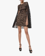 Michael Kors Collection Floral Lace Cape Dress 0