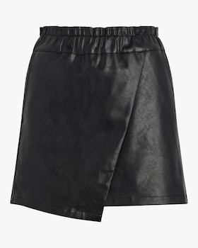 Faux Leather Wrap Mini Skirt