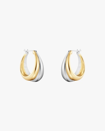 Georg Jensen Jewelry Curve 501B Two-Tone Hoop Earrings 1