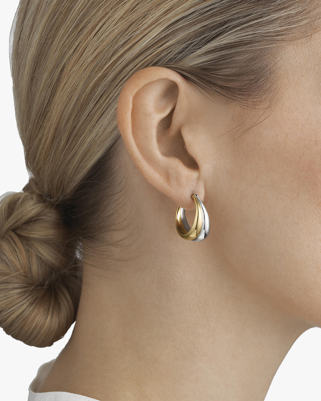 Georg Jensen Jewelry Curve 501B Two-Tone Hoop Earrings 2