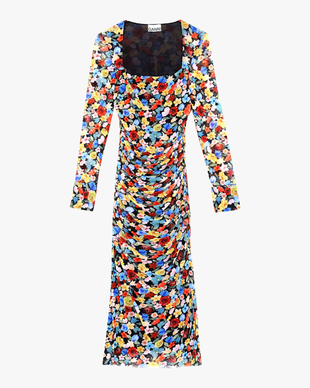 Ganni Floral Mesh Square-Neck Dress 2