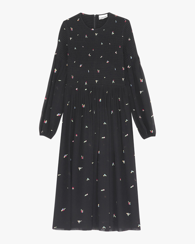 Ganni Puff-Sleeve Georgette Midi Dress 2