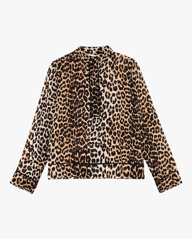 Ganni Leopard Georgette Top 0