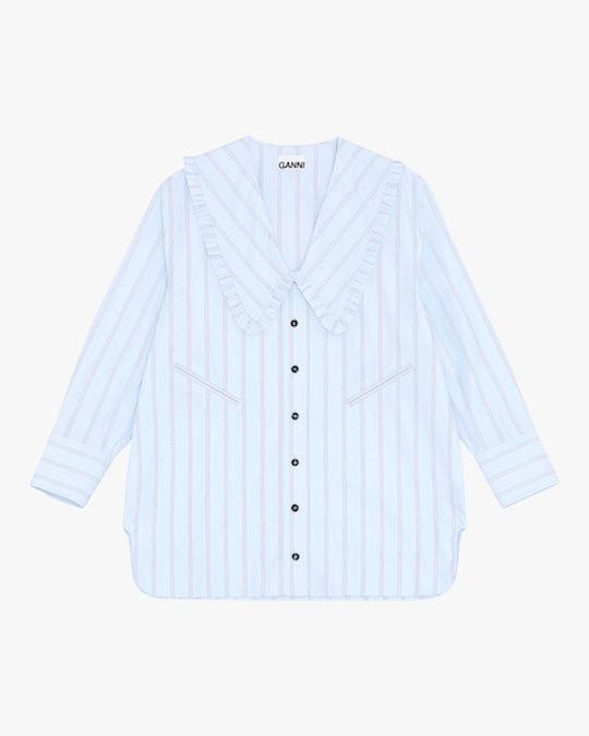 Ganni Striped Button-Up 0