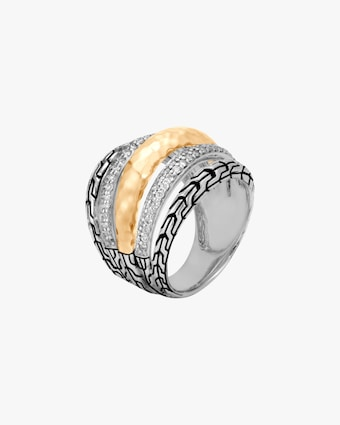 John Hardy Classic Chain Hammered Two-Tone Ring 1