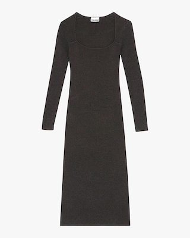 Ganni Square-Neck Midi Dress 2