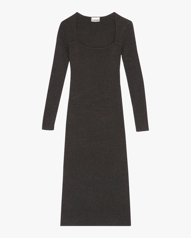 Ganni Square-Neck Midi Dress 0
