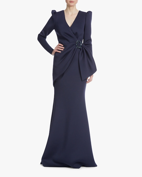 Badgley Mischka Ruched-Waist Gown 0