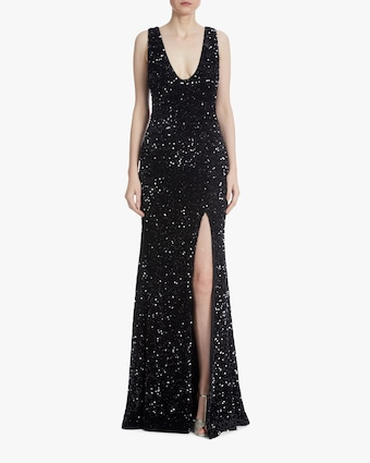 Badgley Mischka Sequin Front-Slit Gown 1