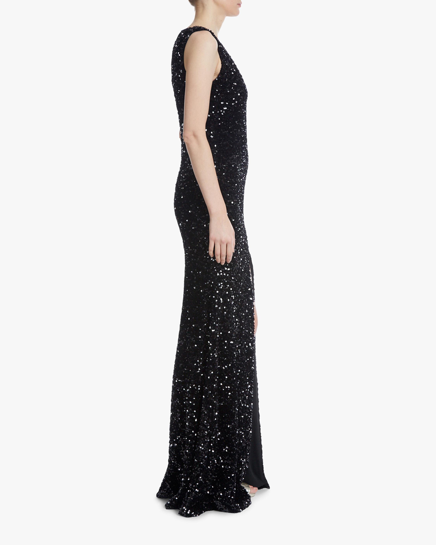 Badgley Mischka Sequin Front-Slit Gown 1