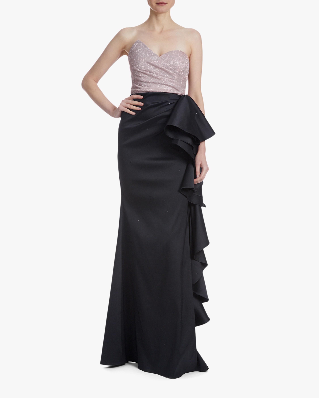 Badgley Mischka Asym Ruffle Gown 0
