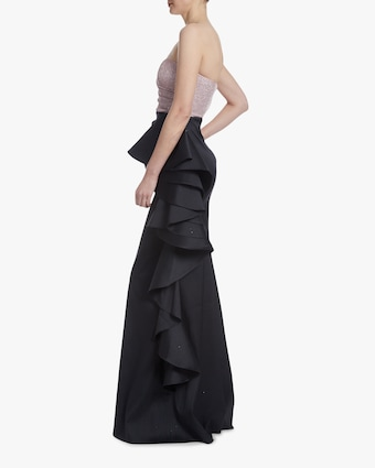Badgley Mischka Asym Ruffle Gown 2