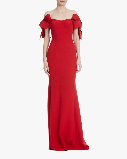 Badgley Mischka Off-Shoulder Gown 0