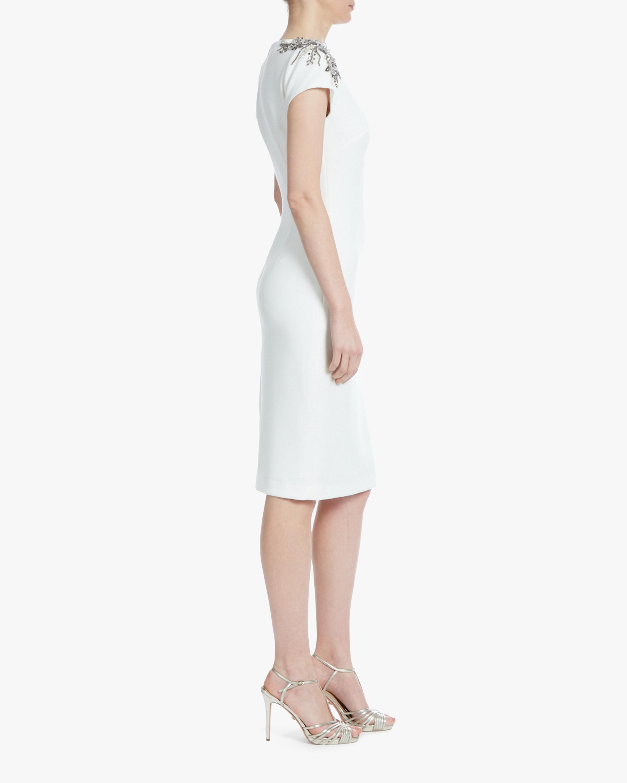 Badgley Mischka Beaded-Shoulder Sheath Dress 2