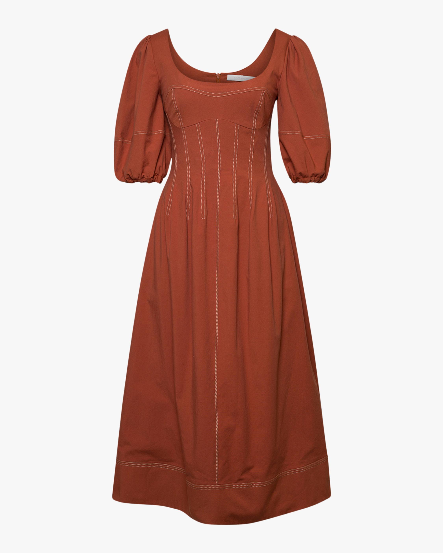 Jonathan Simkhai Lena Puff-Sleve Midi Dress 0