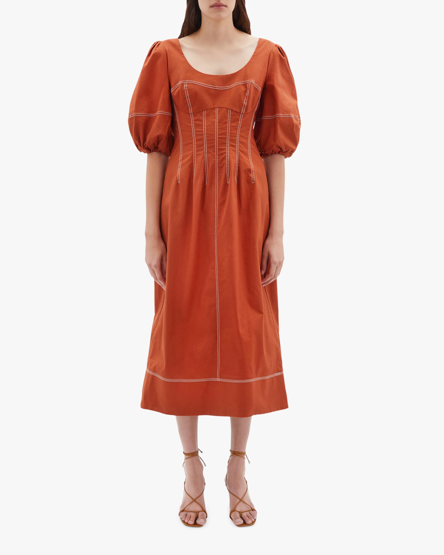 Jonathan Simkhai Lena Puff-Sleve Midi Dress 2