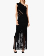 Herve Leger Velvet Fringed One-Shoulder Gown 1
