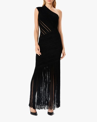 Herve Leger Velvet Fringed One-Shoulder Gown 2