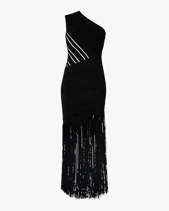 Herve Leger Velvet Fringed One-Shoulder Gown 0