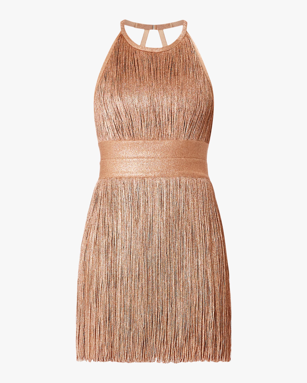 Herve Leger High Neck Foil Fringe Dress 0