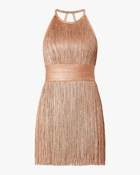 High Neck Foil Fringe Dress