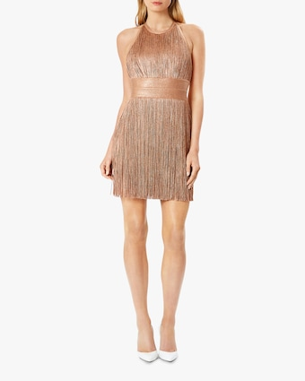 Herve Leger High Neck Foil Fringe Dress 2
