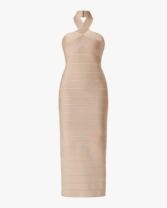 Herve Leger Ottoman Banded Halter Gown 1