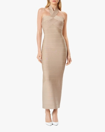 Herve Leger Ottoman Banded Halter Gown 2